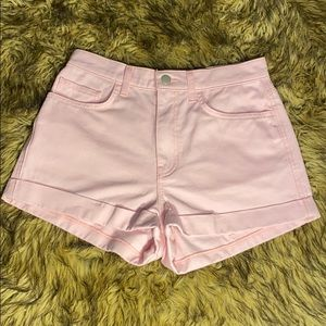 American Apparel High Waisted Cuffed Jean Shorts